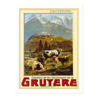 Vintages Reise-Plakat, Gruyere Postkarte