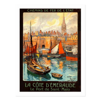 Vintages Reise-Plakat, Heiliges Malo Postkarte