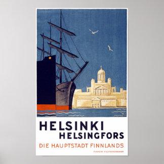 Vintages Reise-Plakat Helsinkis wieder hergestellt Poster