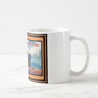 Vintages Reise-Plakat Kaffeetasse