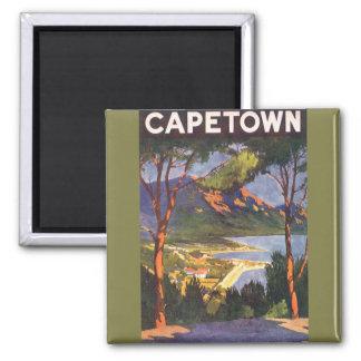 Vintages Reise-Plakat, Kapstadt, Südafrika Quadratischer Magnet
