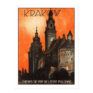 Vintages Reise-Plakat, Krakau Postkarte