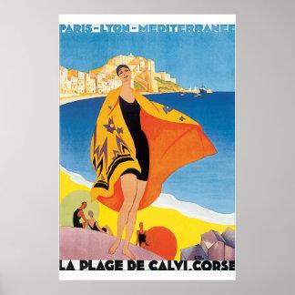 Vintages Reise-Plakat La-Stranddes Calvi Corse Poster