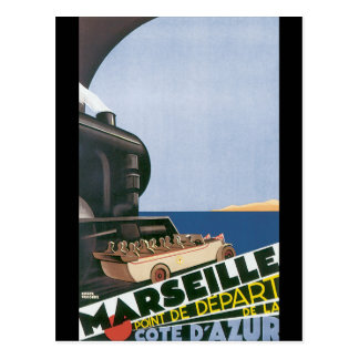 Vintages Reise-Plakat Marseilles Cote d'Azur Postkarte
