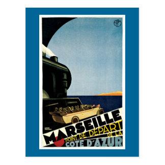 Vintages Reise-Plakat Marseilles/Cote d'Azurs Postkarte