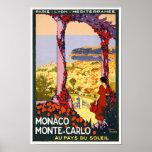 VINTAGES REISE-PLAKAT MONACOS MONTE CARLO