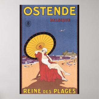 Vintages Reise-Plakat Ostende-Belgique Poster