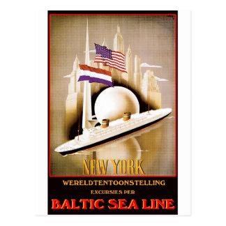 Vintages Reise-Plakat: Ostsee-Linie New York Postkarte