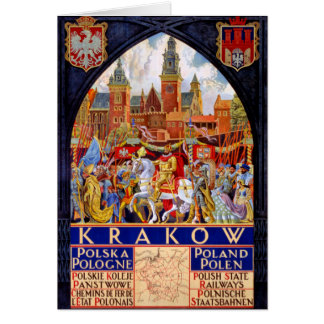 Vintages Reise-Plakat Polens Krakau wieder Karte
