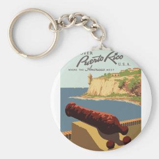 Vintages Reise-Plakat Puerto Rico Schlüsselanhänger
