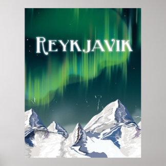 Vintages Reise-Plakat Reykjavik Poster