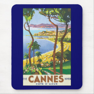 Vintages Reise-Plakat, Strand in Cannes, Mousepads