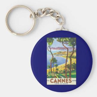 Vintages Reise-Plakat, Strand in Cannes, Standard Runder Schlüsselanhänger