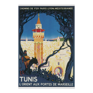 Vintages Reise-Plakat Tunis Poster