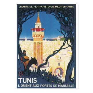 Vintages Reise-Plakat Tunis Postkarte