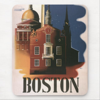 Vintages Reise-Plakat von Boston, Massachusetts Mauspad