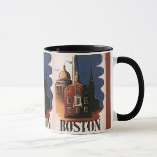 Vintages Reise-Plakat von Boston, Massachusetts Tasse