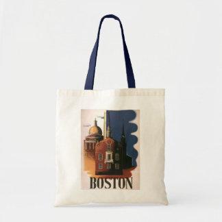 Vintages Reise-Plakat von Boston, Massachusetts Tragetasche