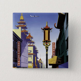 Vintages Reise-Plakat von San Francisco Chinatown Quadratischer Button 5,1 Cm