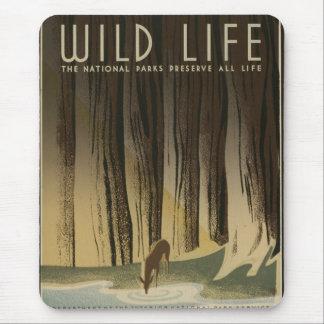 Vintages Reise-Plakat - wild lebende Tiere circa Mauspad