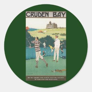Vintages Reise-Schottland-Golf-Golf spielender Runder Aufkleber
