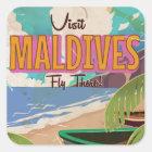 Vintages Reiseplakat Art. Malediven-Insel Quadratischer Aufkleber