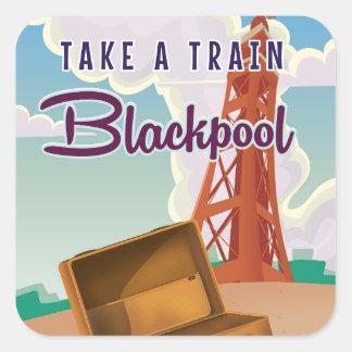 Vintages Reiseplakat Blackpools Quadratischer Aufkleber