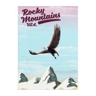 Vintages Reiseplakat felsige Berg-USA Acryl Wandkunst