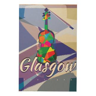 Vintages Reiseplakat Glasgows Holzleinwand