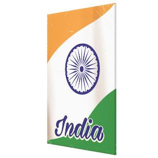 Vintages Reiseplakat Indien-Flagge Leinwanddruck