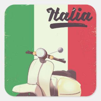 Vintages Reiseplakat Italien-Rollers Quadratischer Aufkleber