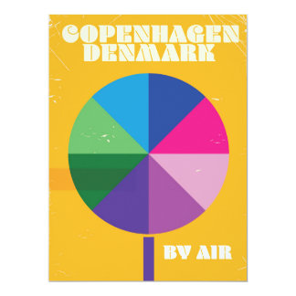 Vintages Reiseplakat Kopenhagens, Dänemark 16,5 X 22,2 Cm Einladungskarte