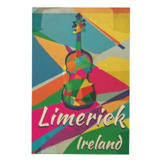Vintages Reiseplakat Limerick-Irlands Holzleinwand