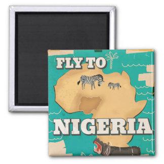 Vintages Reiseplakat Nigerias Quadratischer Magnet