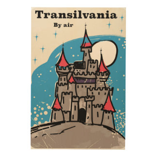 Vintages Reiseplakat Siebenbürgen-Schlosses Holzdruck
