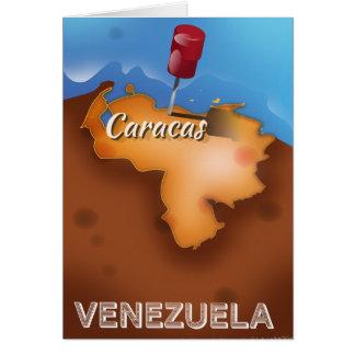 Vintages Reiseplakat Venezuelas, Caracas Karte