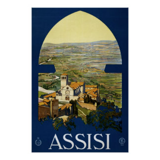 Vintages Reiseplakat zu Assisi Italien