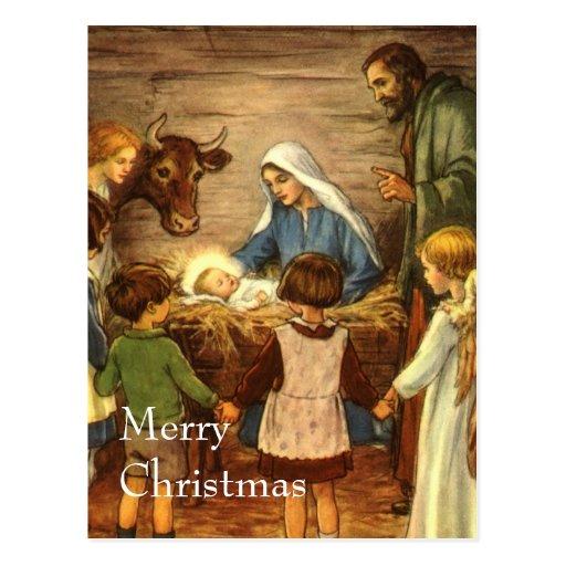 Vintages religiöses Weihnachten, Nativity, Baby Postkarten