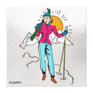 Vintages Retro alpines Skifahren-Mädchen-alte Leinwanddruck