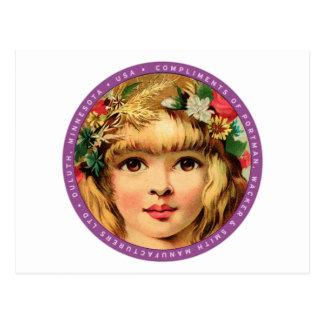 Vintages Retro Anzeige-Blumen-Kindermädchen Postkarte