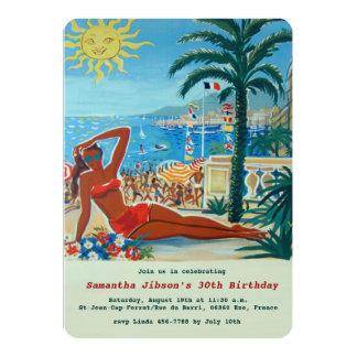 Vintages Retro französisches Riviera-Sommer-Party 12,7 X 17,8 Cm Einladungskarte