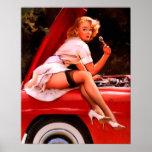 Vintages Retro Gil Elvgren Auto-Mechanikerpinup-Mä Plakate
