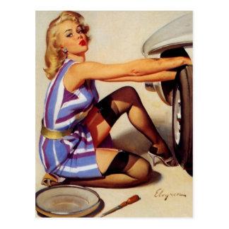 Vintages Retro Gil Elvgren Auto-Mechanikerpinup-Mä Postkarte