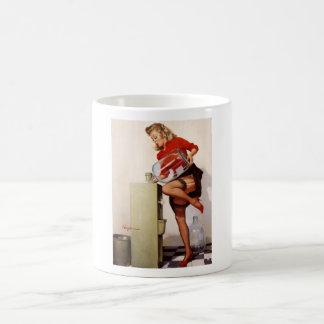 Vintages Retro Gil Elvgren Büropinup-Mädchen Tasse