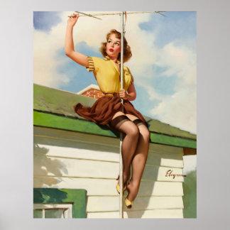 Vintages Retro Gil Elvgren Button herauf Mädchen Poster