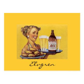 Vintages Retro Gil Elvgren Button herauf Mädchen Postkarte