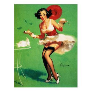 Vintages Retro Gil Elvgren Tee-Zeitpinup-Mädchen Postkarte