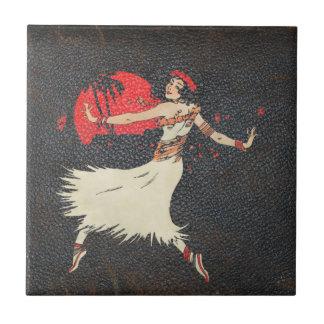 Vintages Retro hawaiisches Mädchen Hula Tänzer-| Fliese