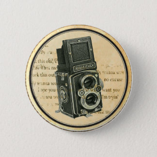 Vintages Retro Kamera-Fotograf-Knopf-Button Runder Button 5,7 Cm