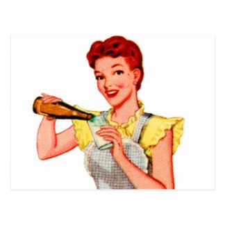 Vintages Retro Kitsch-50er Soda-Wurzel-Bier und Postkarte